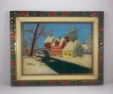 Winterlandschaft, Öl auf Glas gemalt, im Holzrahmen, ca. 50 x 40 cm