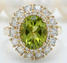 3.35CTW Natural Green Peridot and DIAMOND in 14K Solid Yellow Gold Women Ring