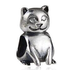GATTO Felino Solid 925 Sterling Silver Charm Bead Fits European Bracciale