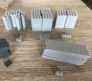☀️100x NEW Lego Moc 1x2 LIGHT BLUISH GRAY Modified Masonry Profile Bricks Wall