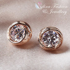 18K Rose Gold Plated Simulated Diamond Exquisite Crossover Stud Earrings