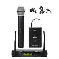 Audio2000's 6074UL UHF 2 Channel Wireless Microphone w/ Handheld & Lapel Mics