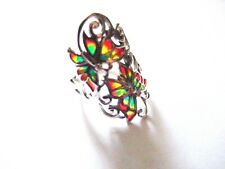 Sterling Silver Filigree Plique a Jour Blue stained glass Butterfly Ring size 8