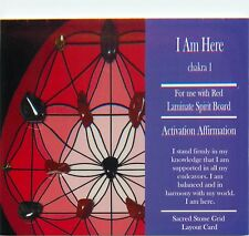 "I AM HERE Grid Card 4x6"" Heavy Cardstock For Use with Healing Crystals"