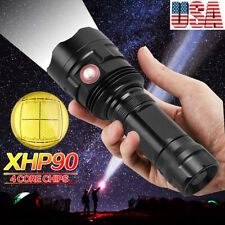 High Power XHP90 LED Flashlight USB Rechargeable Torch Outdoor Hunting Light