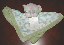 Carter's baby blue green elephant print security blanket NWT
