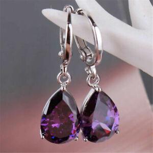 Fashion Silver Plated Purple Crystal Drop Earrings for Women's Wedding Jewelry