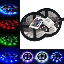 10M 2x5M 3528 SMD RGB 600LEDs LED Strip Lights Lamp + 24Key IR Remote Controller