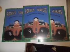 (3) Vintage Colorado Rockies NY Yankees Exhibition Commemorative Scorecards