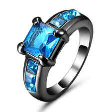 Princess Cut Blue Aquamarine Wedding Ring Black Rhodium Plated Birthstone Size 9