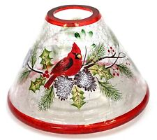 New Yankee Candle Christmas Holiday Cardinal Crackle Glass Large Jar Shade