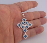 925 STERLING SILVER LADIES LARGE CROSS PENDANT NECKLACE W/6 CT TURQUOISE/DIAMOND