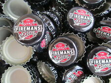 100 Black Fireman's Brew  Beer Bottle Caps (No Dents). Free Shipping