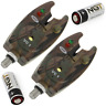 2 x NGT CARP FISHING VC1 CAMO BITE ALARMS IN CASE WITH BATTERIES FOR ROD PODS