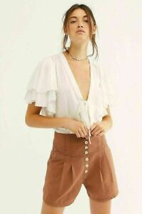 Free People Intimately Call Me Later Ruffle Bodysuit Flutter Sleeve Tie XS Top