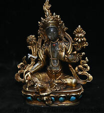 Old Tibet Copper Gilt Crystal Buddhism Green Tara Enlightenment Goddess Statue