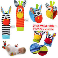 Sozzy 4pcs Rattle Set Baby Sensory Toys Foot-finder Socks Wrist Rattles Bracelet