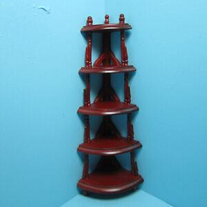 Dollhouse Miniature Wood 5 Tier Corner Shelf Unit Mahogany T3375