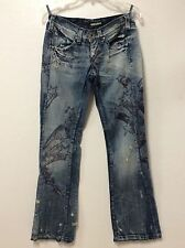 Miss Sixty ladies jeans size 28 blue graphic hippy distressed designer Italy 35
