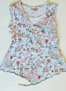 Girls knit works floral sleeveless tie back top blouse sz L 14