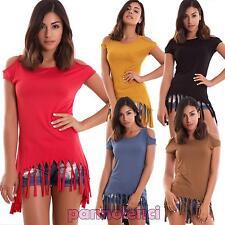 Maglia donna maglietta t-shirt frange aperture spalle sexy coda nuova AS-7251