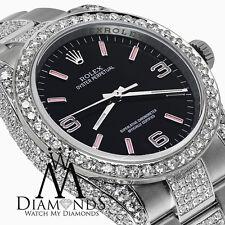 Rolex Ostrica Perpetuo 36mm Nero con Rosa Quadrante su Misura Orologio Diamanti