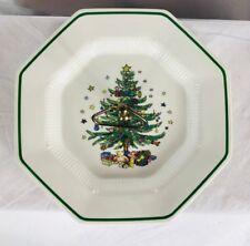 Nikko Christmas Tree Serving Plate Tray Platter w/Handle Happy Holidays Octagon
