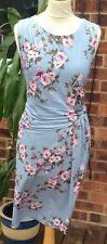 LAURA ASHLEY .. FLORAL POLYESTER DRESS .. BLUE MIX .. UK SZ 12 -14 .. EXCELLENT