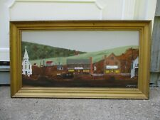 Original Signed Vintage 1991 Folk Art Acrylic on Board Town Village Painting