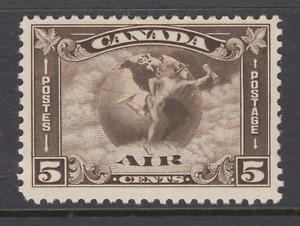 Canada Sc C2 MLH. 1930 5c olive brown Mercury & Globe Air Mail, F-VF