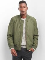 GAP Men's Classic Bomber Jacket Full Front Zip Army Olive Green Surplus NEW
