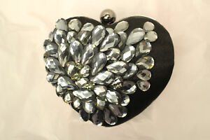 Small Hard Black Heart Gray Formal Sparkling Crystal Clutch Evening Chain Purse