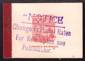 CANADA BOOKLET #BK5f, 1912 SURCHARGED COVER, F-VF PANES