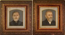 Stunning Antique Folk Art Portraits in Arts & Craft Original Frames. BEAUTIFUL!