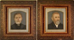 Stunning Antique Folk Art Portraits in Arts & Craft Original Frames. BEAUTIFUL!