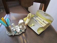 2 Vintage Nail Kits--Bakelite handles-Silver Nail Polish Holder Various Tools