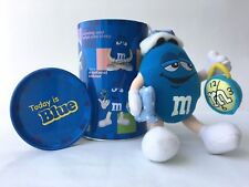 """Today is Blue"" Tin Canister with BLUE M&M 2002 Plush Toy SLEEPER - Rare!!!"