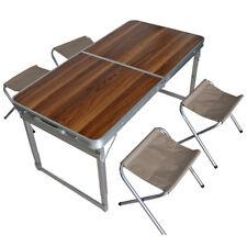 Alu Camping Set klappbar - 4x Stuhl + Tisch Holzdesign - Koffertisch Falt Hocker