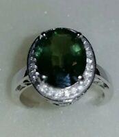 6ct Natural Australian Green Sapphire & Fine Natural Diamond Ring 14k White Gold