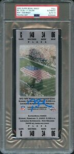 2002 SUPER BOWL 36 XXXVI SILVER FULL TICKET PSA/DNA AUTO 10 BRADY'S 1ST MVP RARE