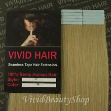 "10pcs 22"" Remy Seamless Tape Skin Weft Human Long Hair Extension Light Blonde #9"