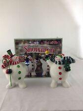 New Costco Set Of 2 Flocked Snowman Figurines Christmas Holiday Decor Jolly