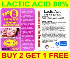 LACTIC ACID PEEL 80% 30ml/1oz Food & Cosmetic Grade. New Buy 2 get 1 FREE