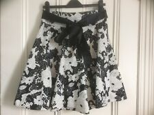 NEW LOOK flared cotton skirt, 10, black/white floral with satin tie belt