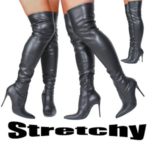Womans Wide Stiletto Heel Black Sexy Over Knee Thigh High Fit Boots Stretch Calf