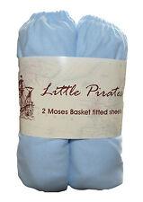 2 X Bebé Cuna/Moisés Jersey Sábana Bajera 100% algodón azul 30x75cm