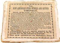 ".RARE 1800s ""NEW AMERICAN STEM WINDER & SETTER"" SUNDIAL POCKET WATCH DISPLAY BOX"
