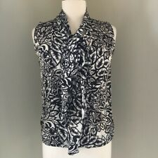 CAbi BLACK WHITE 100% SILK FLORAL HAWAIIAN BLOUSE TOP EUC SZ S 4 6