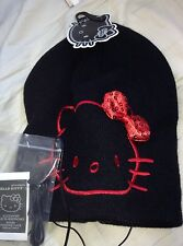 HEADPHONES BEANIE HAT HELLO KITTY  Sanrio Black Slouchy with Built Red Bow NEW