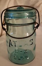 Rare Atlas E-Z SeaL CornfLower Blue Pint Canning Jar #1Glass Lid & BaiL Vry Nice